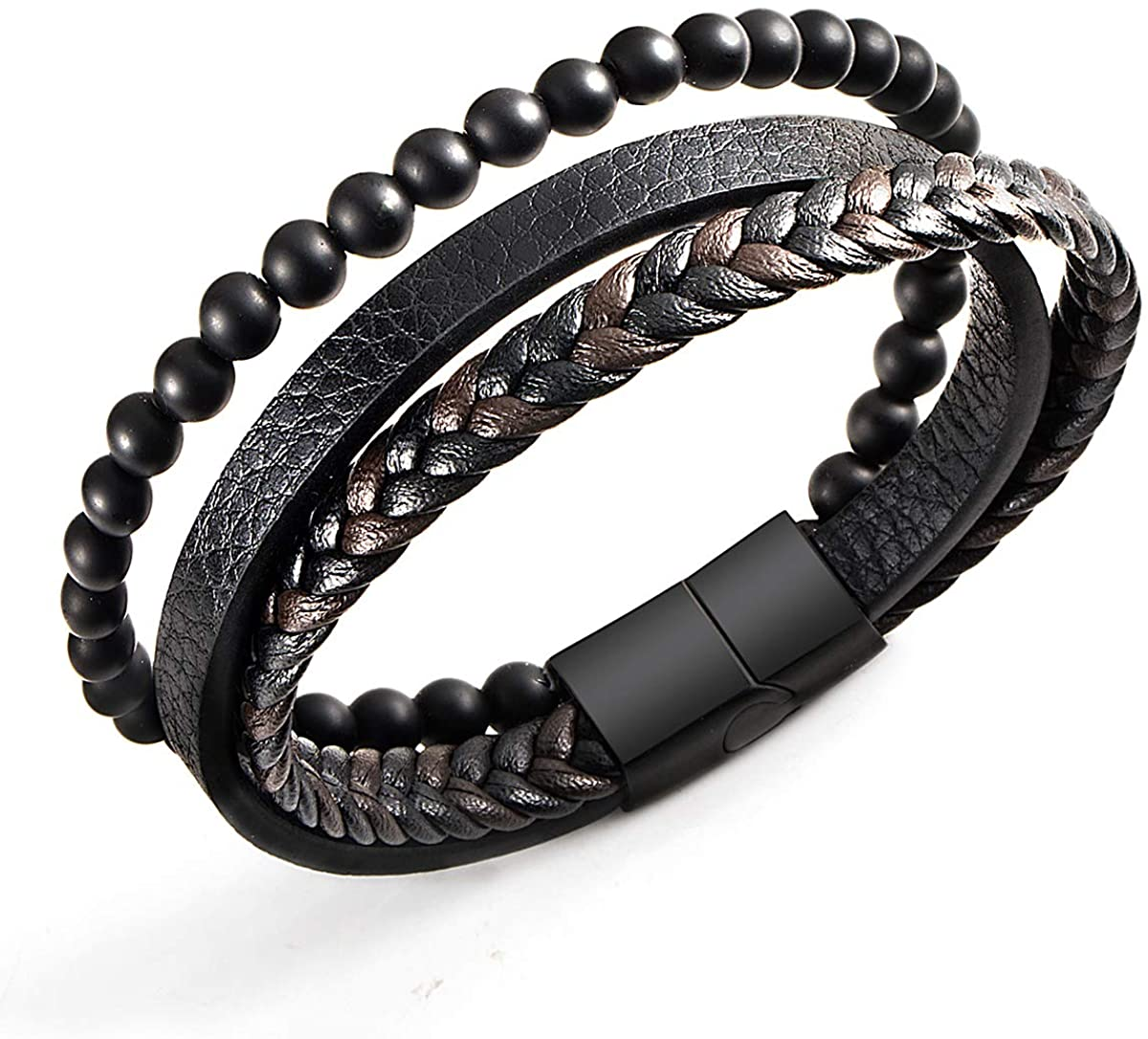 New Mens Bracelet Bead and Leather Braided, Lava and Onyx Bead Leather Bracelet for Men …