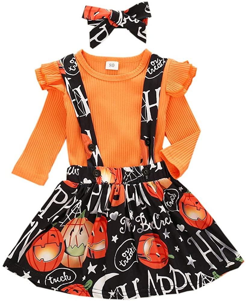 Toddler Baby Girls Halloween Christmas Outfits Suspender Skirt Set,Ruffle Long Sleeve Tops T Shirts & Overall Dress