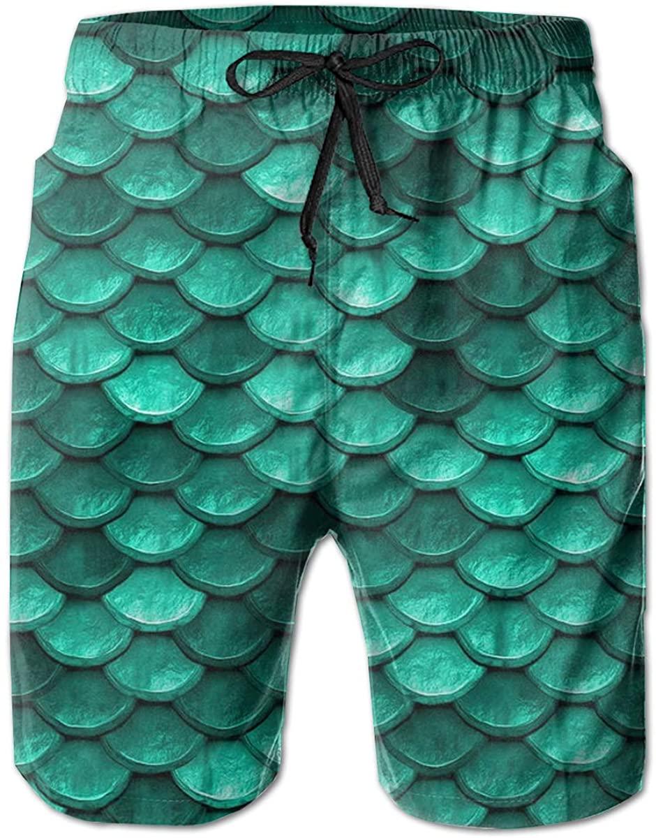 AMRANDOM Kids Boys Turquoise Green Mermaid Comfortable Board Shorts Swim Trunks, Quick Dry Sports Running Beachwear Shorts, (L)