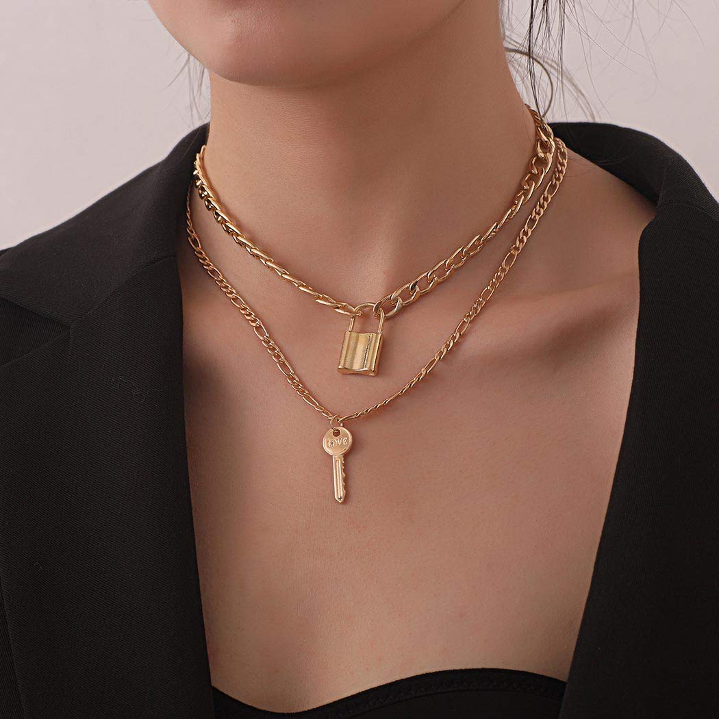Bmadge Fashion Choker Layering Necklace Gold Lock and Key Pendant Necklace Geometric Punk Chain Jewelry for Women and Girls (Gold)