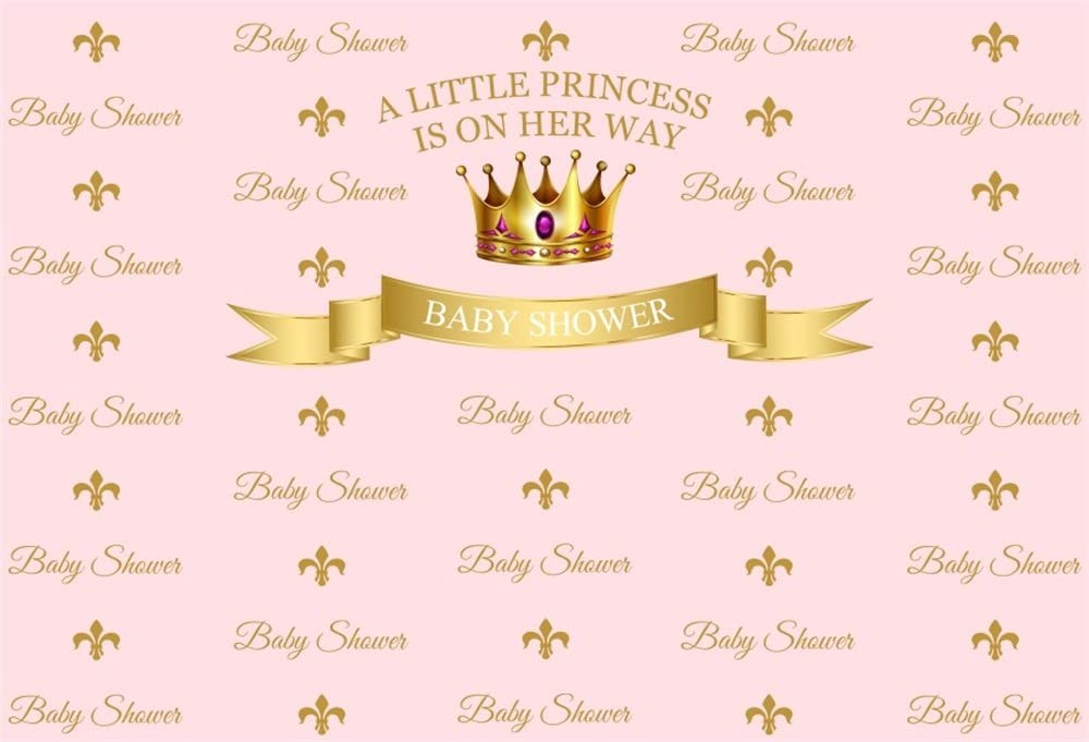 LFEEY 10x7ft Little Princess Baby Shower Photo Backdrop Expected Mother Party Gold Crown Pink Background for Photography Girl Gender Reveal Photo Booth Props Video Drapes Wallpaer
