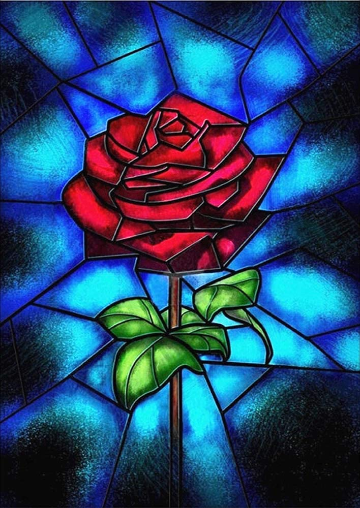 DIY 5D Diamond Painting, Diamond Embroidery Cross Stitch Kit Red Rose Flower 5D Diamond Rhinestone Painting Crystals Cross Stitch Picture Arts Home Decor (Red Rose, 30x40cm/11.8x15.8in)