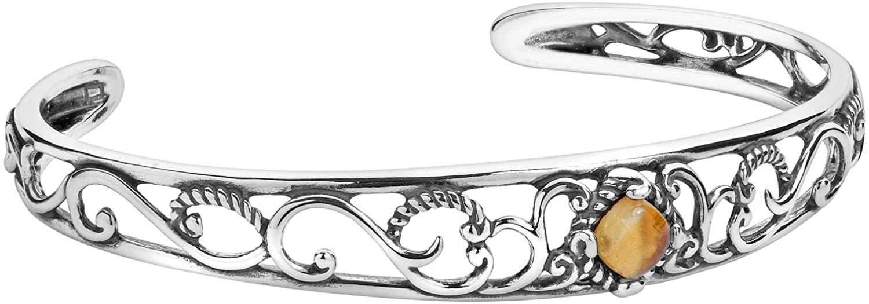 Carolyn Pollack Sterling Silver Yellow Citrine November Birthstone Cuff Bracelet Size Small