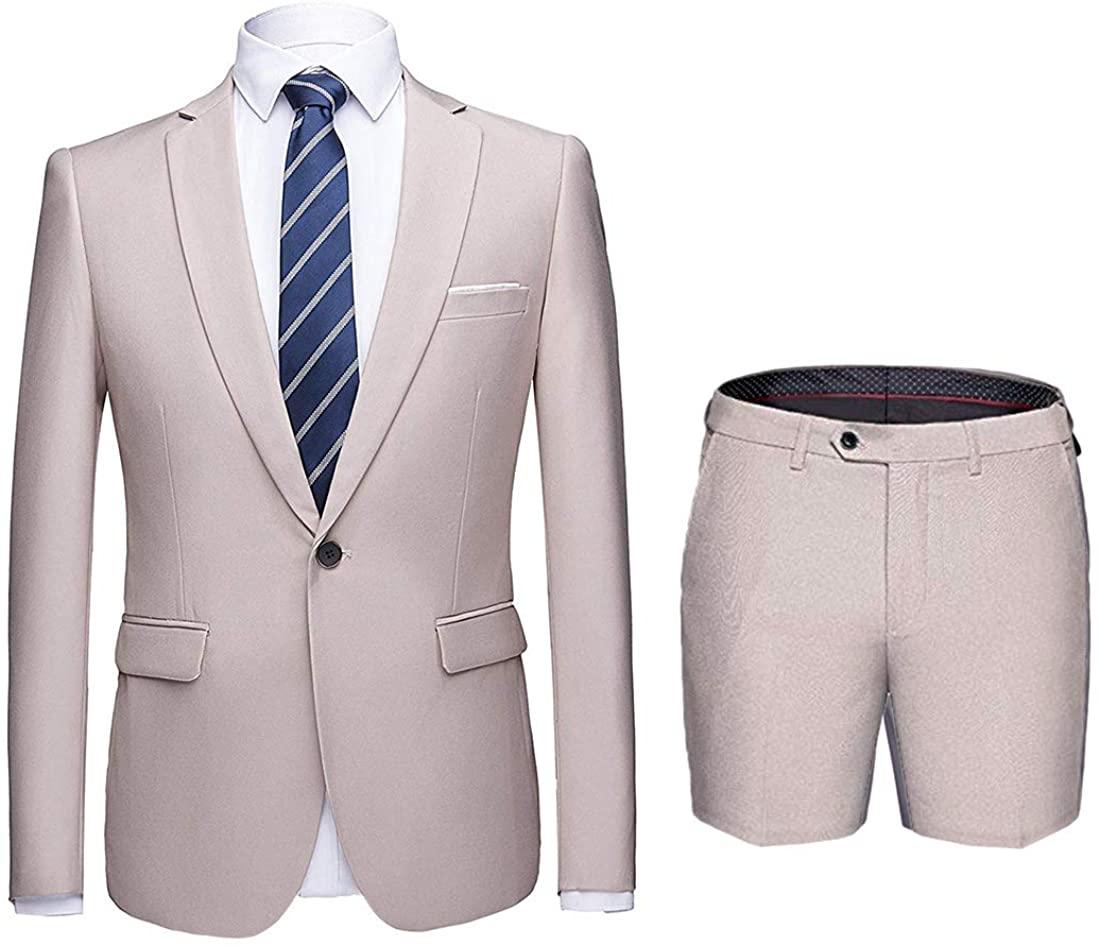 MY'S Men's 2 Piece Slim Fit Suit, One Button Blazer and Short Pants Set with Tie