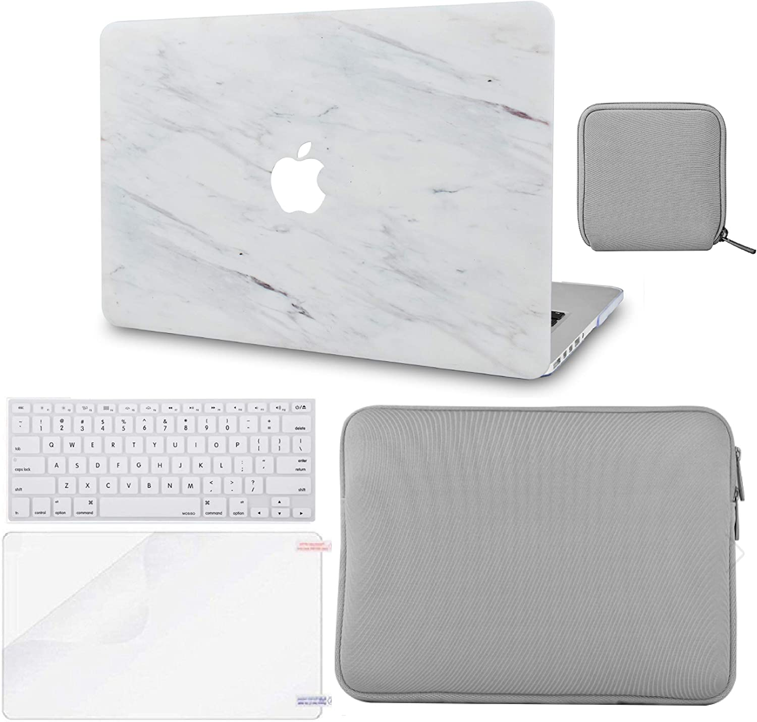 LuvCase 5 in 1 LaptopCase for MacBook Air 13 Inch (Touch ID)(2018-2020) A1932 Retina Display HardShell Cover, Slim Sleeve, Pouch, Keyboard Cover & Screen Protector (Silk White Marble)