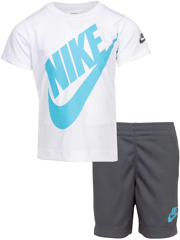 Nike Boy`s Dri-Fit T-Shirt & Shorts 2 Piece Set (White(76F024-G1A)/Blue/Grey, 6)