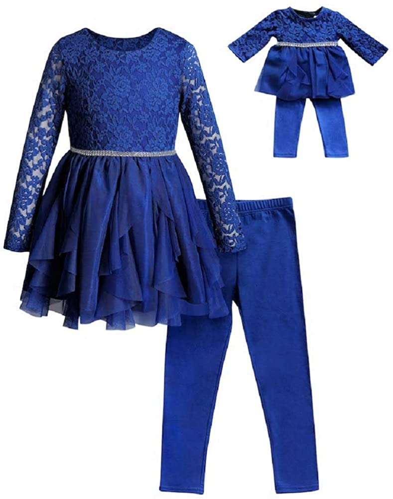 Dollie & Me Girls Size 4-14 Royal Blue Lace Cascade Tunic Leggings Set