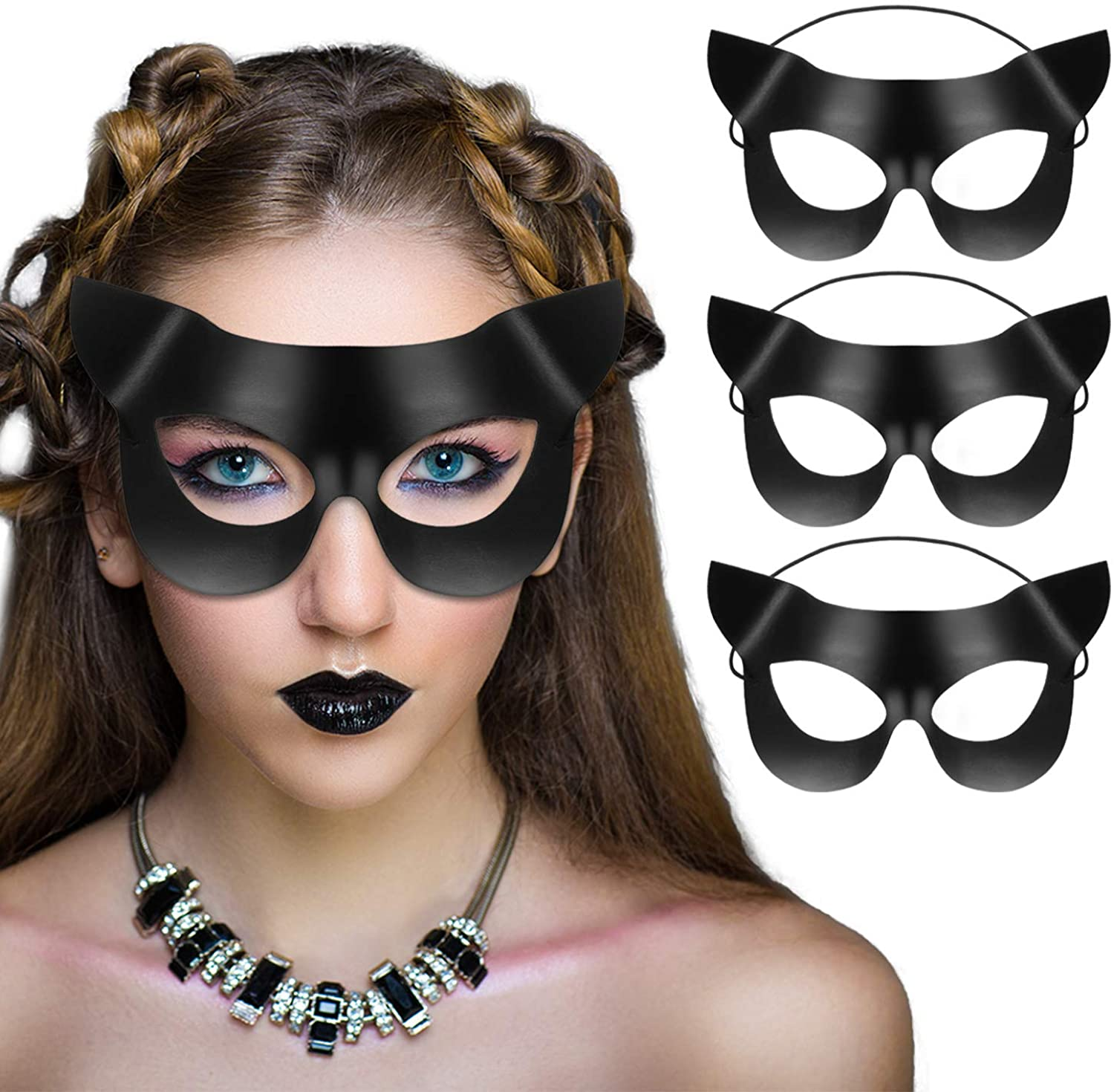 Halloween Women's Cat Masks Half Face Cat Mask Vinyl Masquerade Mask for Cosplay Kitty Fancy Dress Party, 3 Pieces Black