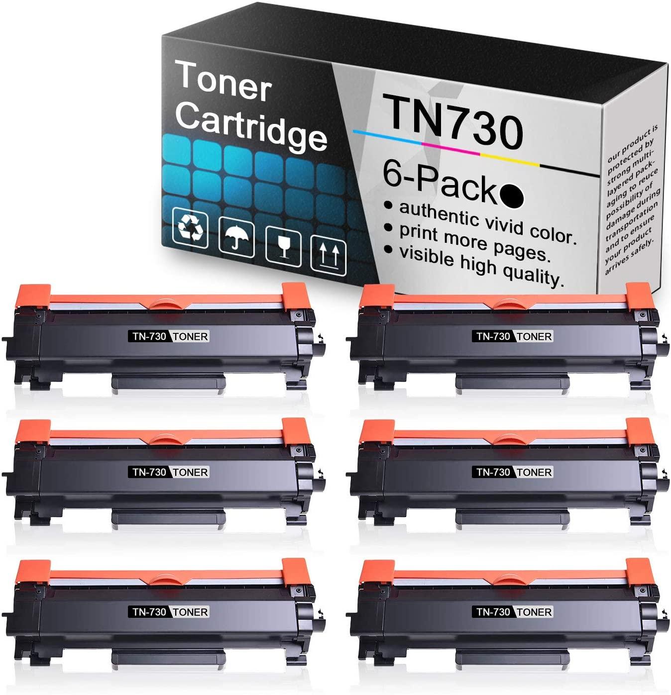 (6 Pack Black Toner Cartridge TN730) Compatible Toner Cartridge Replacement for Brother DCP-L2550DW MFC-L2710DW MFC-L2750DW MFC-L2750DW HL-L2350DW HL-L2370DW/DWXL HL-L2390DW HL-L2395DW Printers.
