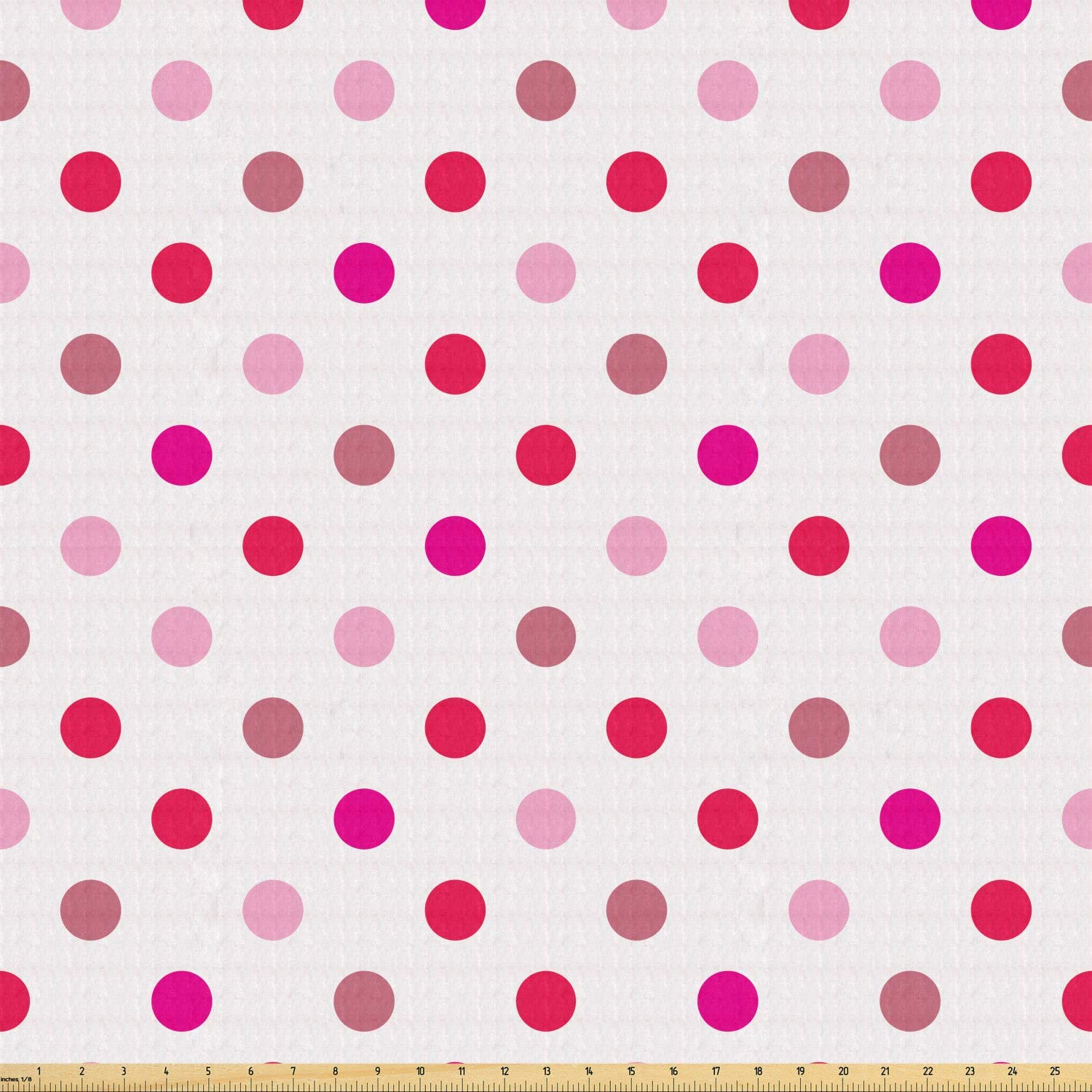 Lunarable Polka Dots Fabric by The Yard, Polka Dots Pattern Consisting of an Array of Filled Circles Pop Art, Stretch Knit Fabric for Clothing Sewing and Arts Crafts, 1 Yard, Baby Pink Fuchsia White