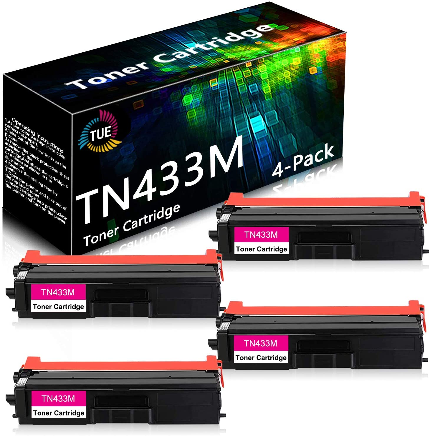 TN433M TN-433M (4 Pack,Magenta) Compatible High Yield Toner Cartridge Replacement for Brother HL-L8260CDW L8360CDW L8360CDWT MFC-L8610CDW L8690CDW L8900CDW DCP-L8410CDW Printer Toner Cartridge