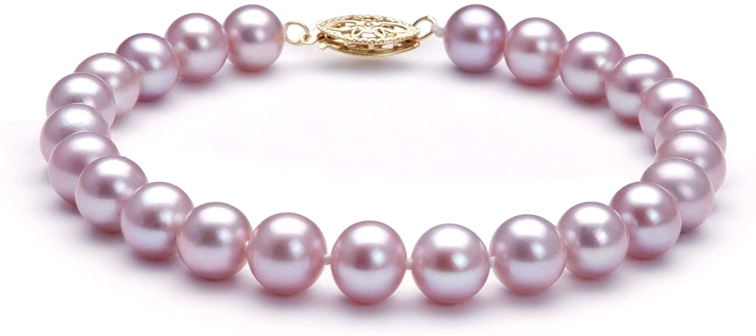 Lavender 7-8mm AA Quality Freshwater Cultured Pearl Bracelet for Women