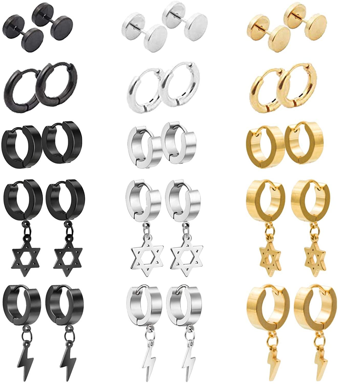 NEWITIN Stainless Steel Earrings Hoop Piercing Stud Dangle Earrings for Men and Women,You Can Choose 15 Pieces/15 Pairs/18 Pairs Earrings