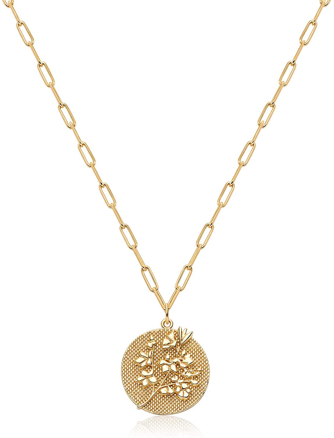 Fettero Coin Necklace Gold Disc Flower Medal Pendant 14K Gold Plated Dainty Chunky Paperclip Chain Minimalist Simple Boho Personalized Jewelry Gift for Women