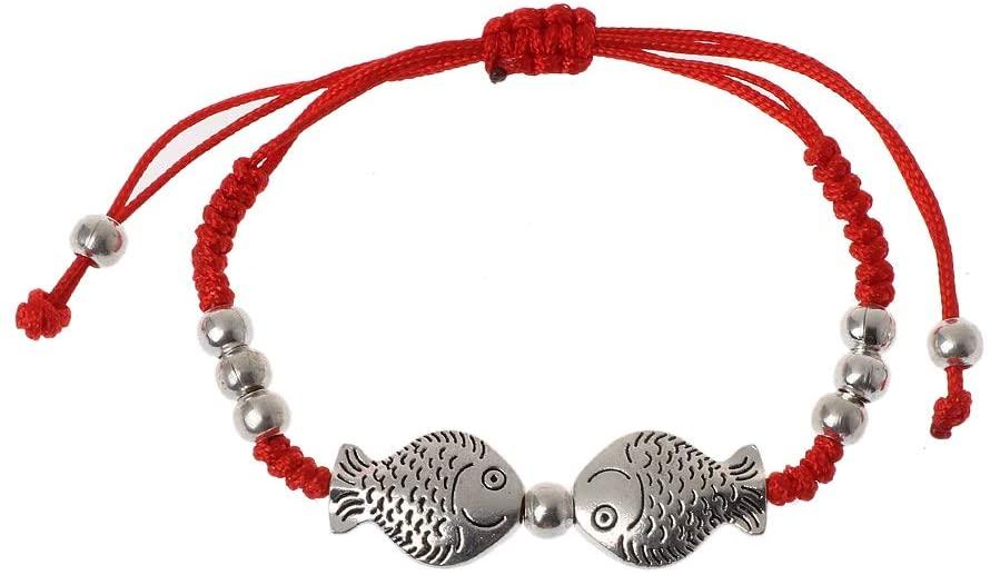 minansostey Two Fish Charm Red String Rope, Braided Kabbalah Bracelets,Women Fashion Jewelry