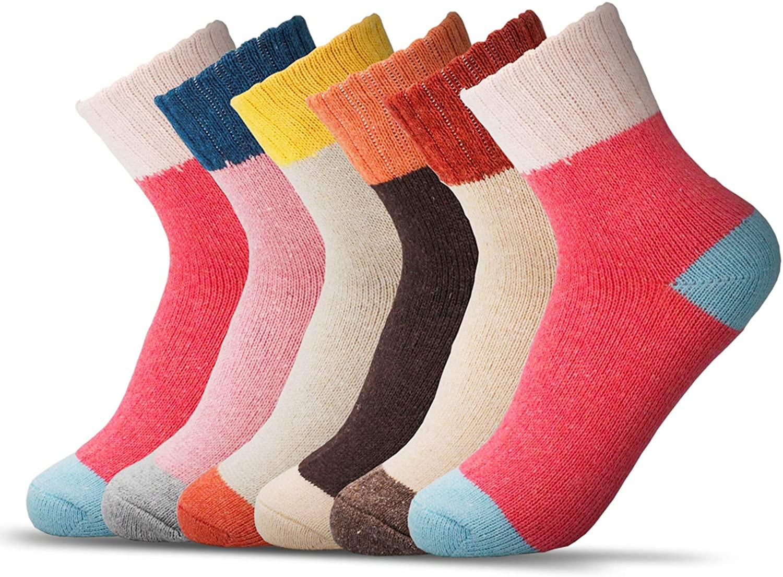 Footfox 6 Pairs Womens Warm Wool Socks Vintage Thick Knit Winter Casual Cotton Socks, Multicolor