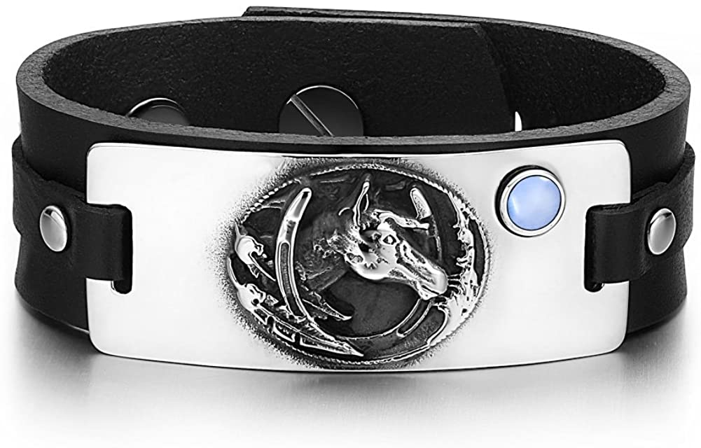 Brave Mustang and Lucky Horse Shoe Amulet Tag Blue Simulated Cats Eye Adjustable Black Leather Bracelet