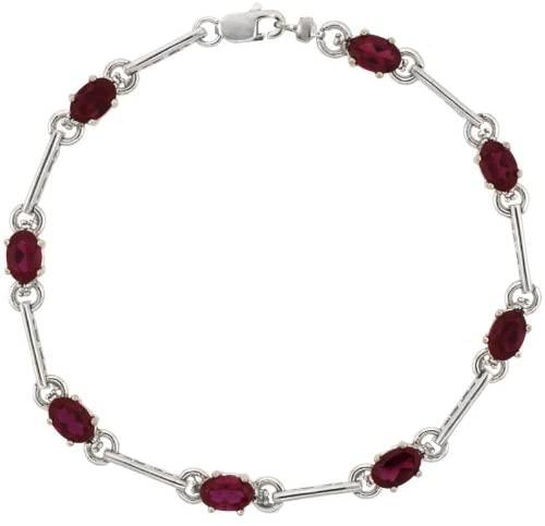 10k White Gold Dash Bar Tennis Bracelet 0.05 ct Diamonds & 4.0 ct Oval Created Ruby, 3/16 inch wide