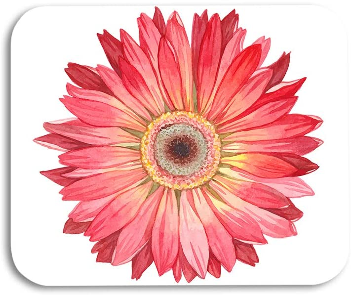 AOYEGO Chrysanthemum Mouse Pad Red Flower Floral Gerbera Sunflower Petals Plant Gaming Mousepad Rubber Large Pad Non-Slip for Computer Laptop Office Work Desk 9.5x7.9 Inch