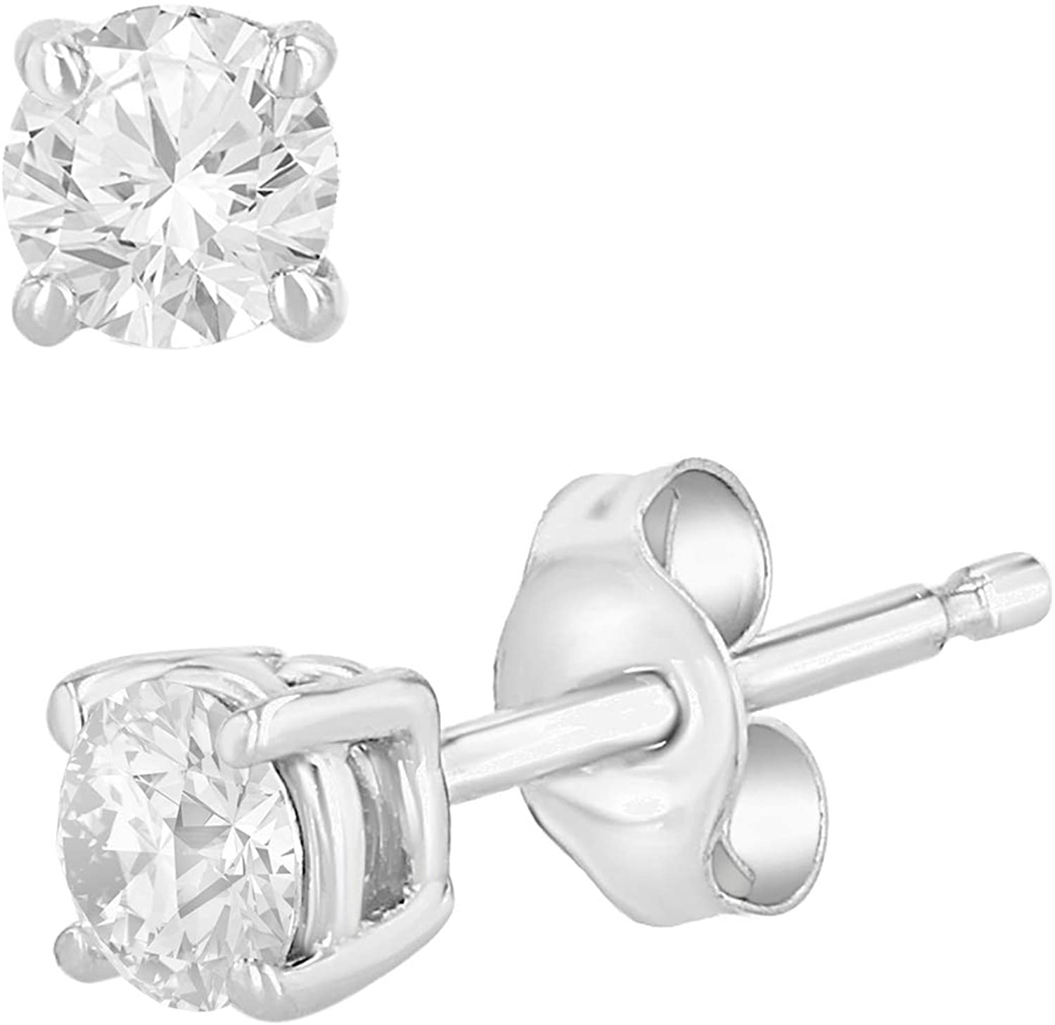 0.10-1 Carat Total Weight Round VS Diamond Stud Earrings for Women in 14K White, Yellow, or Rose Gold (0.30cttw and up IGL Certified)