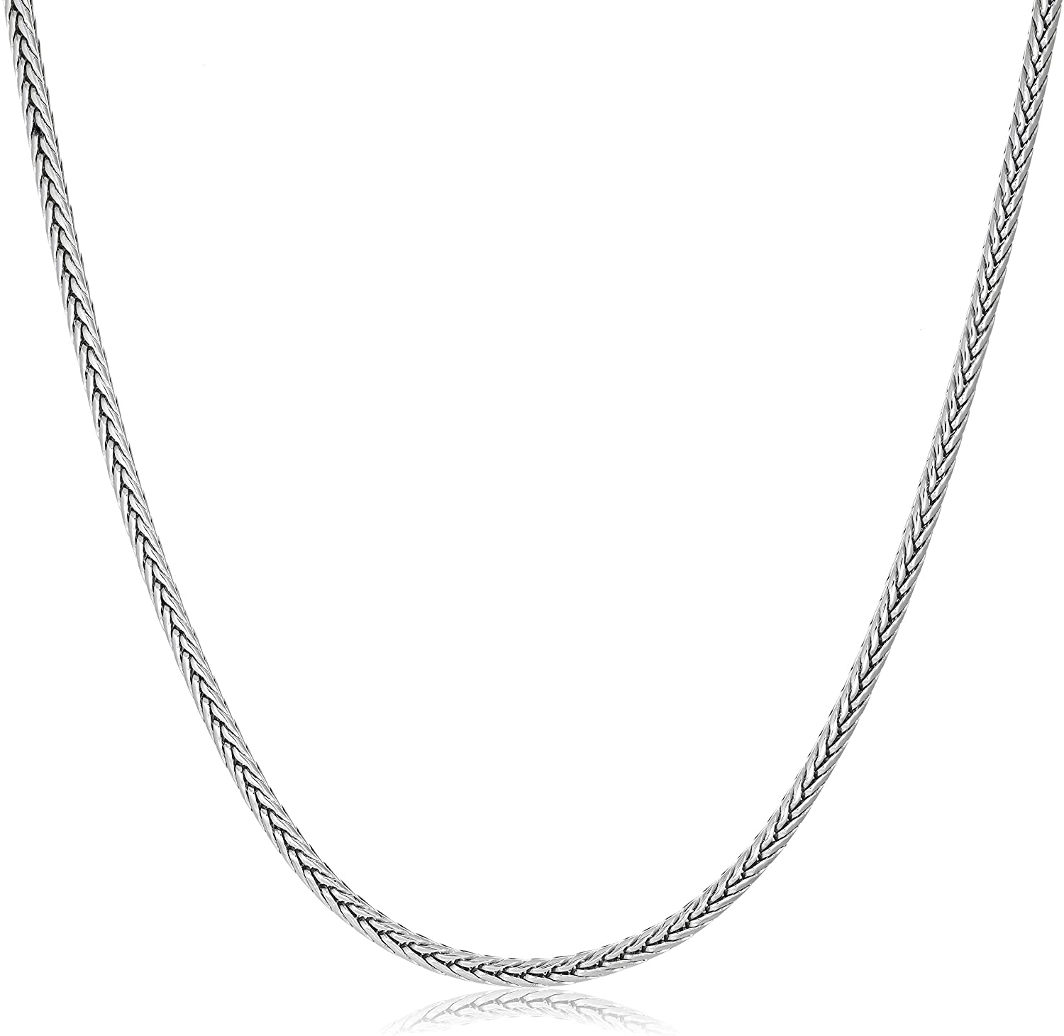 Men's Stainless Steel Thin Wheat Chain Necklace - 3 MM Wide, 24 Inches Length with Lobster Clasp