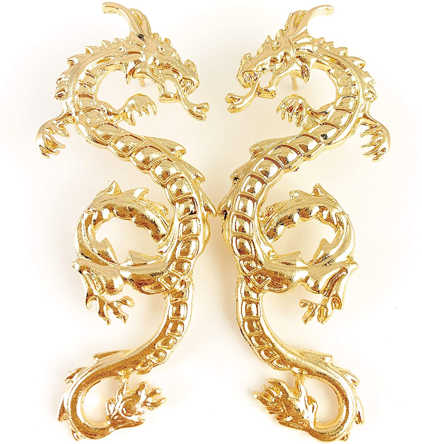 gold dragon earrings Big dangle post stud spiked fire breath dragon tail 2 5/8 inches long huge