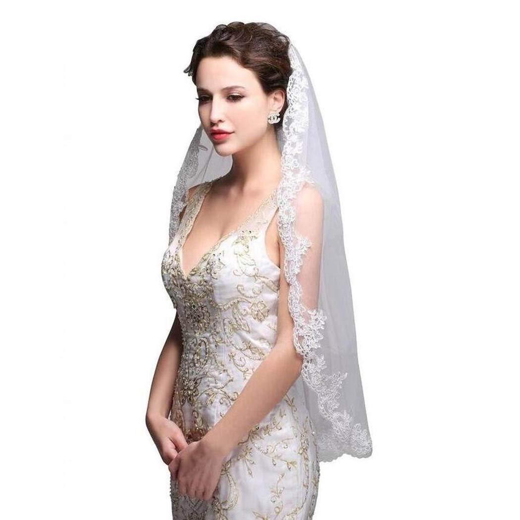 Geroki Short Bride Wedding Veil 1T Flower Lace Edge Church Bridal Veil With Comb Hip Lace Edge Hair Accessories (Ivory White)