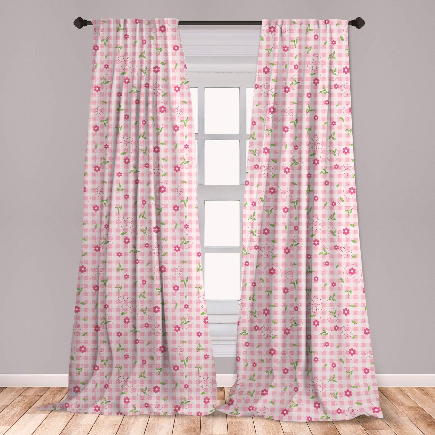 Ambesonne Floral Window Curtains, Soft Pastel Toned Flowers Over Striped Background Girls Design, Lightweight Decorative Panels Set of 2 with Rod Pocket, 56