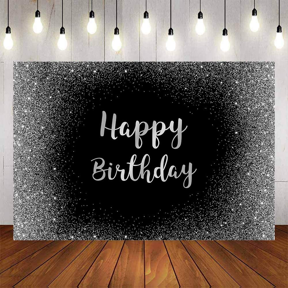 Avezano Black Happy Birthday Background Sliver Glitter Dots Background Sweet 16th Adult Party Decoration Supplies 7x5ft Fabulous Birthday Party