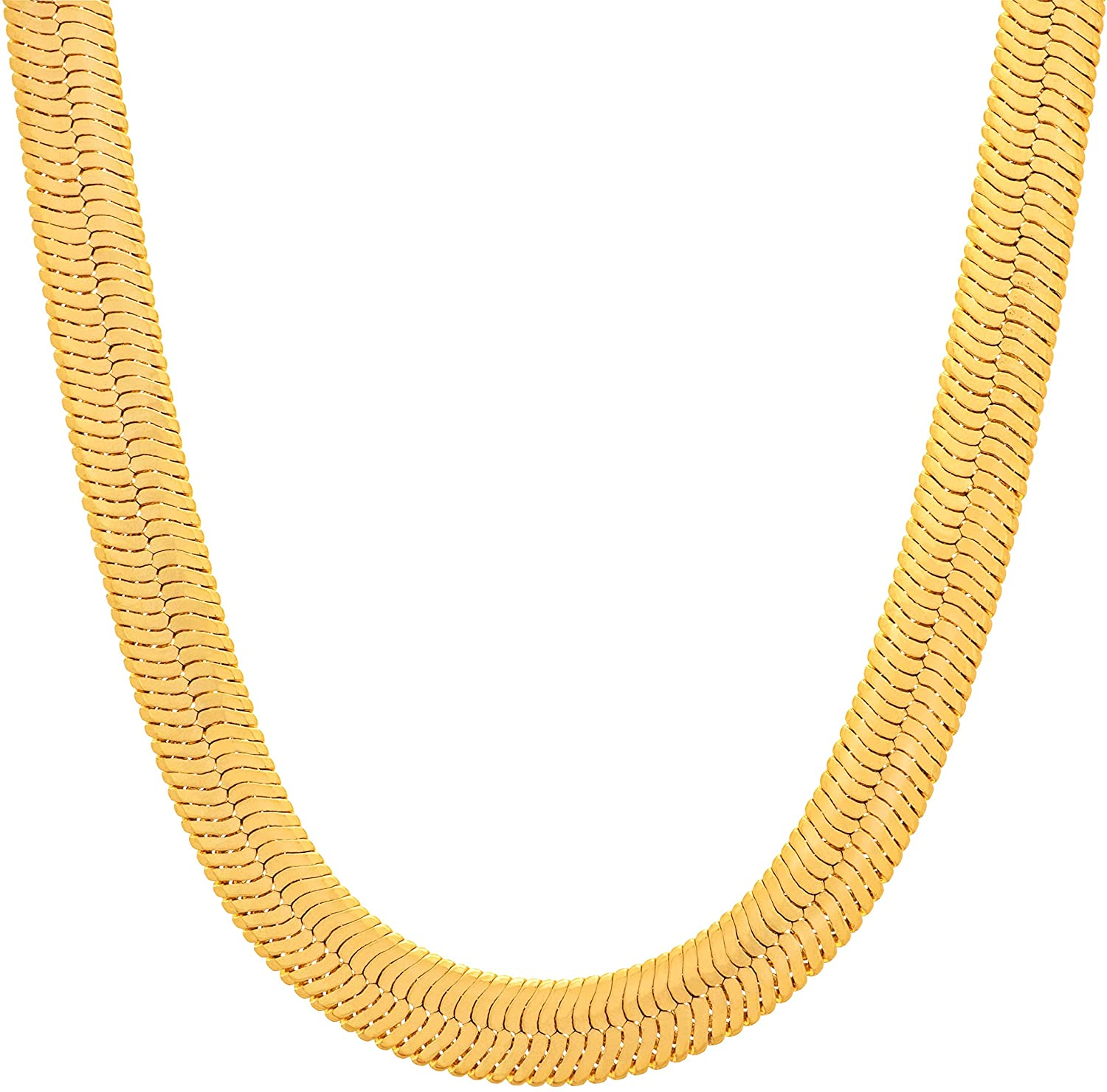 Lifetime Jewelry 7mm Flexible Herringbone Chain Necklace 24k Real Gold Plated