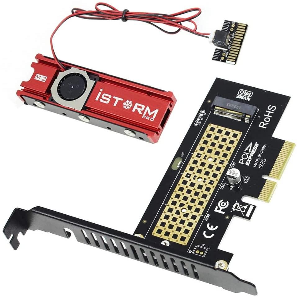 JEYI SK4 NVMe PCI-E Adapter Heatsink Combo M.2 NVMe SSD to PCI-E X4 Adapter Card M Key + Cooling Warship Storm Fan Heatsink Combo for PCI Express 3.0 PCIe X8 X16