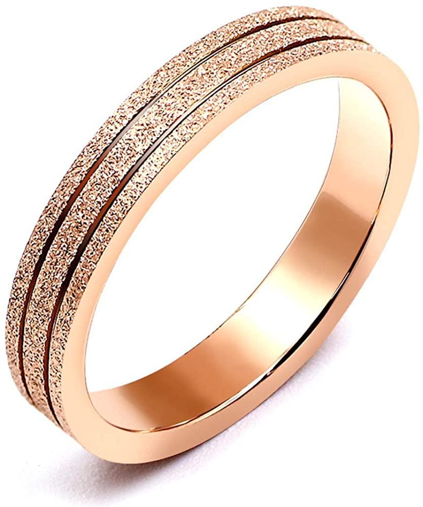 Rose Gold Tungsten Carbide Wedding Bands Ring for Men Women Stainless Steel Sandblasted Polished Edges Finger Rings Engagement Promise Rings
