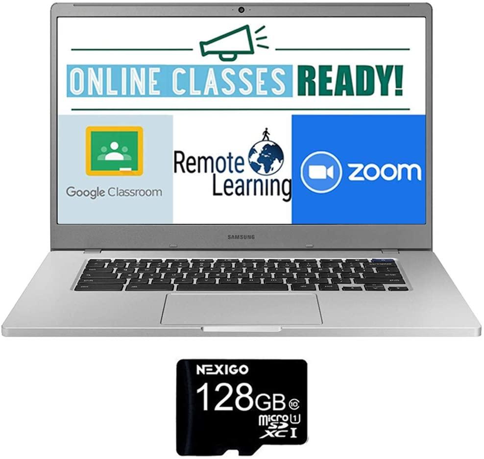 2020 Newest Samsung Chromebook 15.6 Inch FHD 1080P Laptop, Intel Celeron N4000 up to 2.6 GHz, 4GB RAM, 128GB eMMC, Bluetooth, Webcam, Chrome OS + NexiGo 128GB MicroSD Card Bundle
