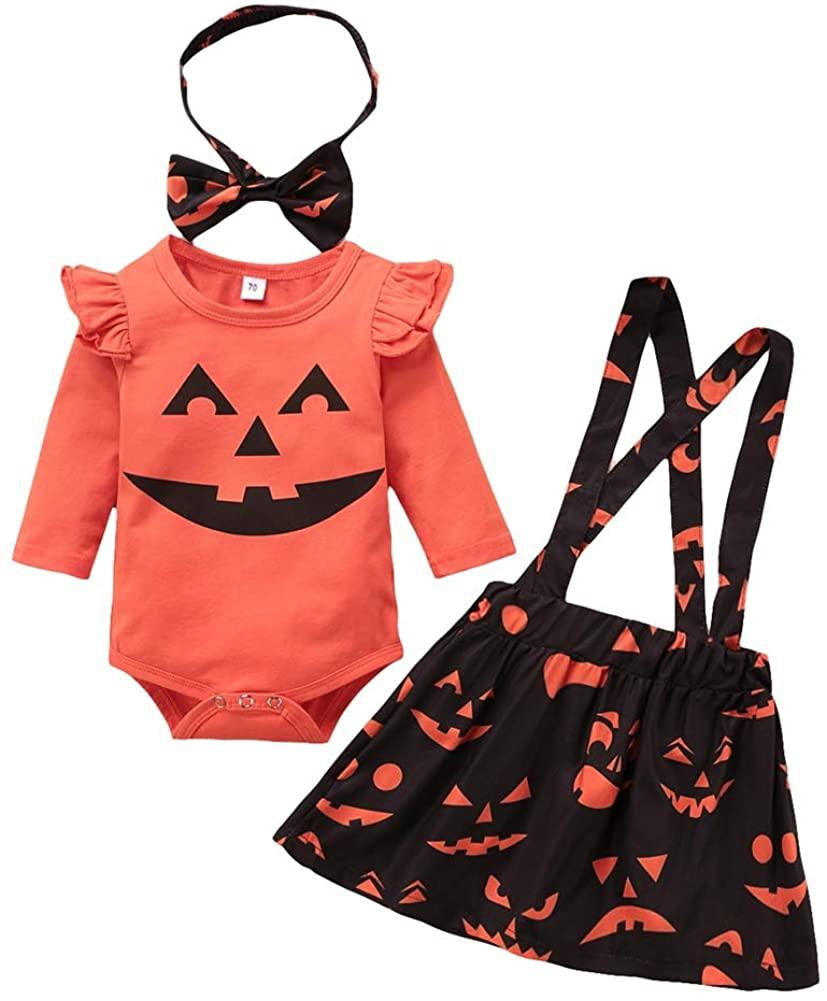 Teblacker Toddle Girl Halloween Outfits Ruffle Romper Pumpkin Ghost Skirt Set with Headband