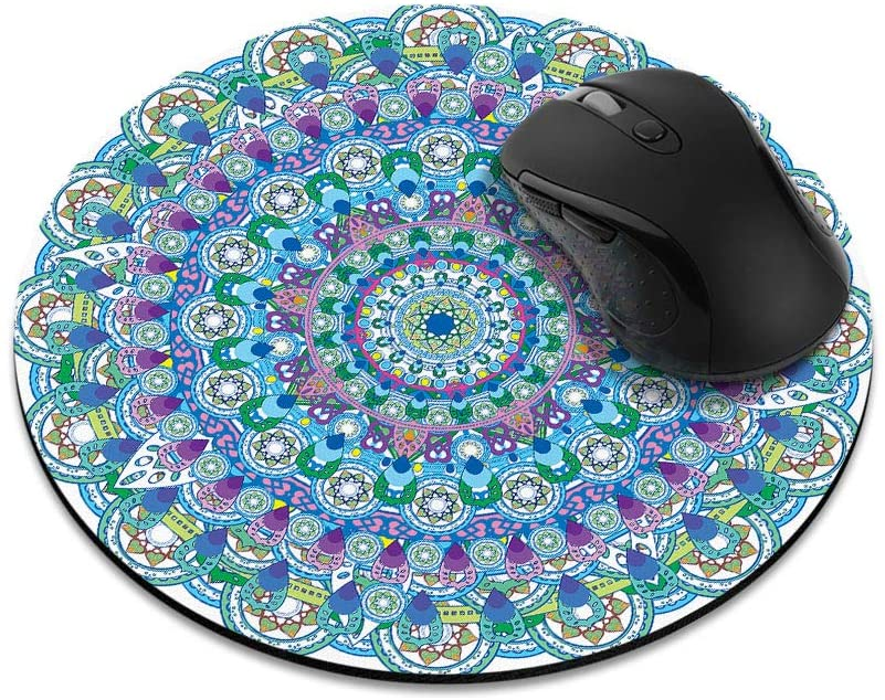 Non-Slip Round Mousepad, WIRESTER Bohemian Blue Teal Mandala Mouse Pad for Home, Office and Gaming Desk