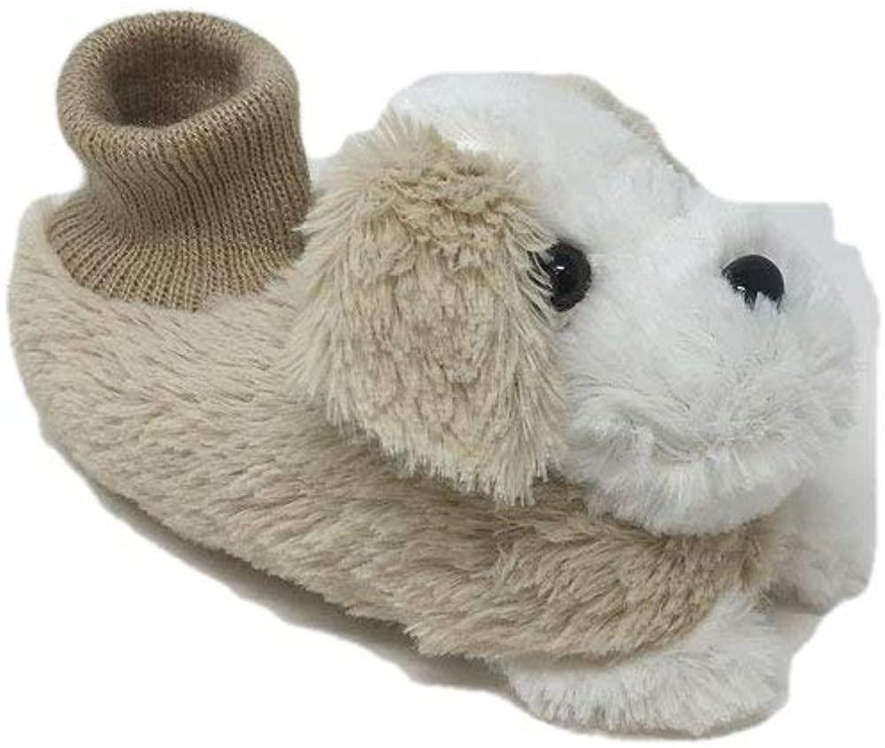 Boy's/Girl's Cute Soft Plush Puppy Dog Socks Slippers Sandals (Toddlers)(Uni02)
