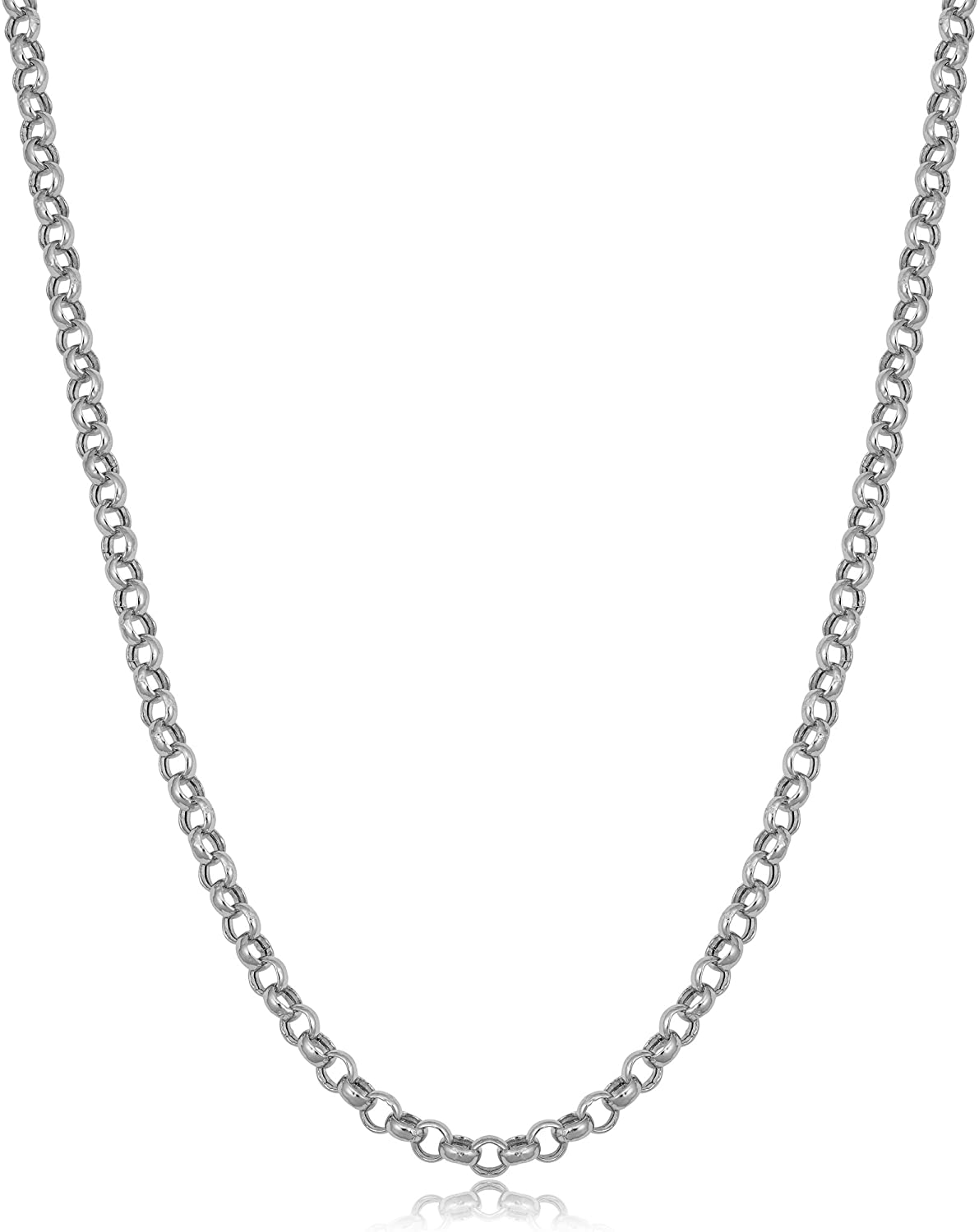 KoolJewelry 14k White Gold 3.2 MM Rolo Chain Necklace (16, 18, 20 or 24 inch)