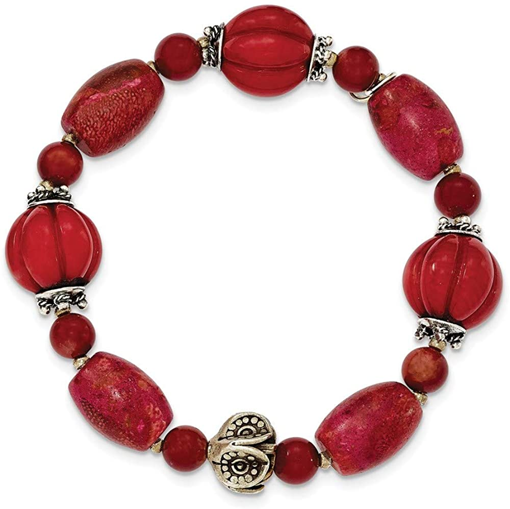 Genuine IceCarats Designer Jewelry Gift Sterling Silver Antiqued Beads & Red Coral Stretch Bracelet