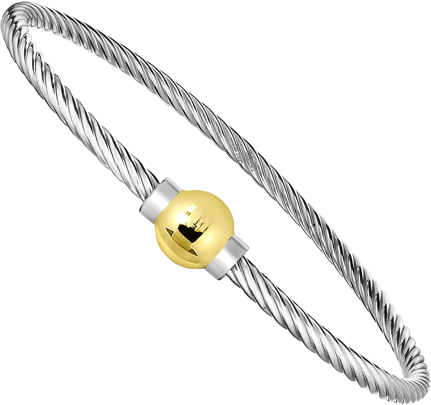 Unique Royal Jewelry Ocean Side Bracelet 925 Sterling Silver and 14K Solid Gold Ball Screw Twisted Bangle Bracelet.