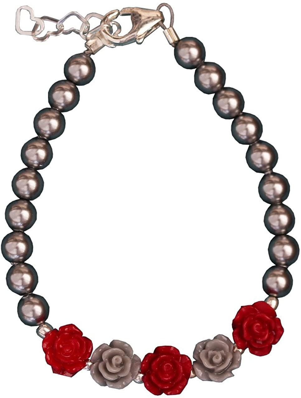 Crystal Dream Elegant Grey Swarovski Simulated Pearls Grey and Red Flowers Stylish Festive Infant Girl Bracelet (B100-FGR_M)