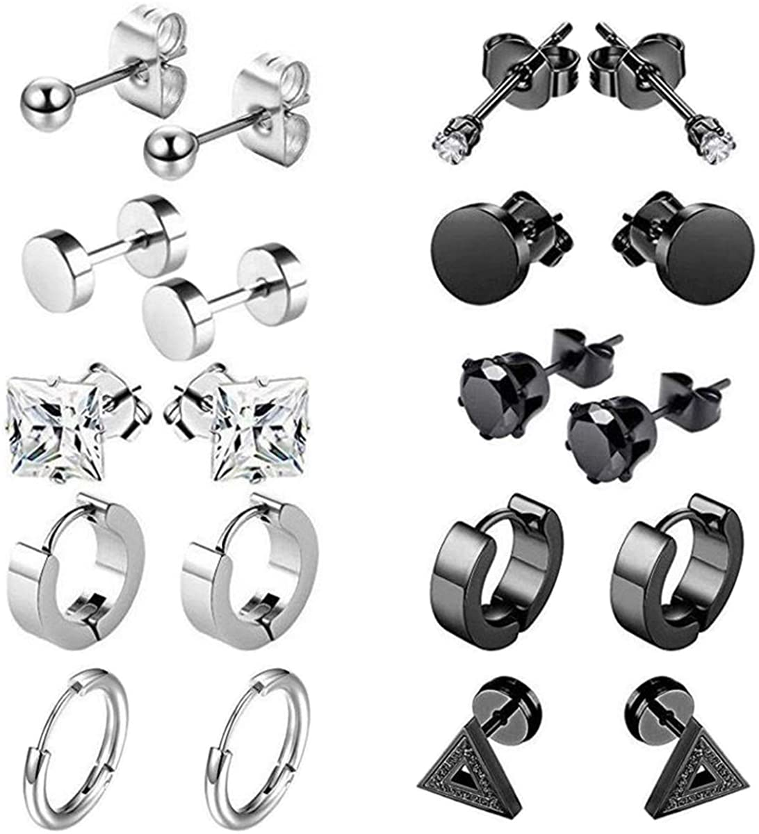 10 Pairs Stainless Steel Earrings for Men Tiny Ball Stud Earrings Cartilage Earrings Endless Earrings for Men women(20PCS,5 Pairs Black,5 Pairs Silver)