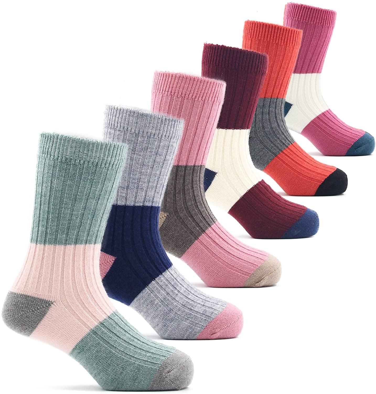 Girls Wool Socks Kids Winter Warm Crew Seamless Socks