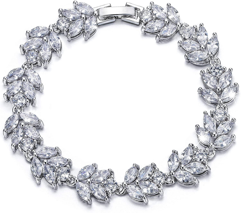 EVER FAITH Wedding Jewerly Hand Accessory Prong Cubic Zirconia Birthstone Marquise Leaf Elegant Tennis Bracelet