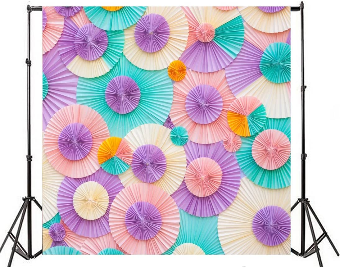 Leyiyi 6X6ft Vinyl Seamless Photography Backdrops Color Handmade Paper Flowers Photo Backgrounds Party Studio Props