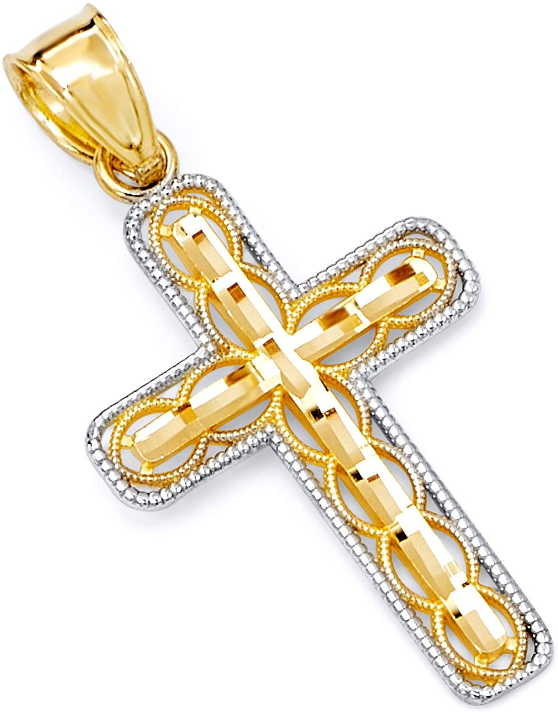 14k Two Tone Gold Gold Religious Cross Religious Charm Pendant