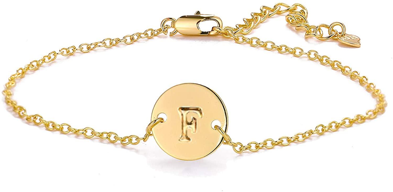 Osemind A-Z Initial Bracelet 26 Alphabet Letter Bracelet Anklets Gold Initial Bracelets for Women Girls Friendship Jewelry Gifts