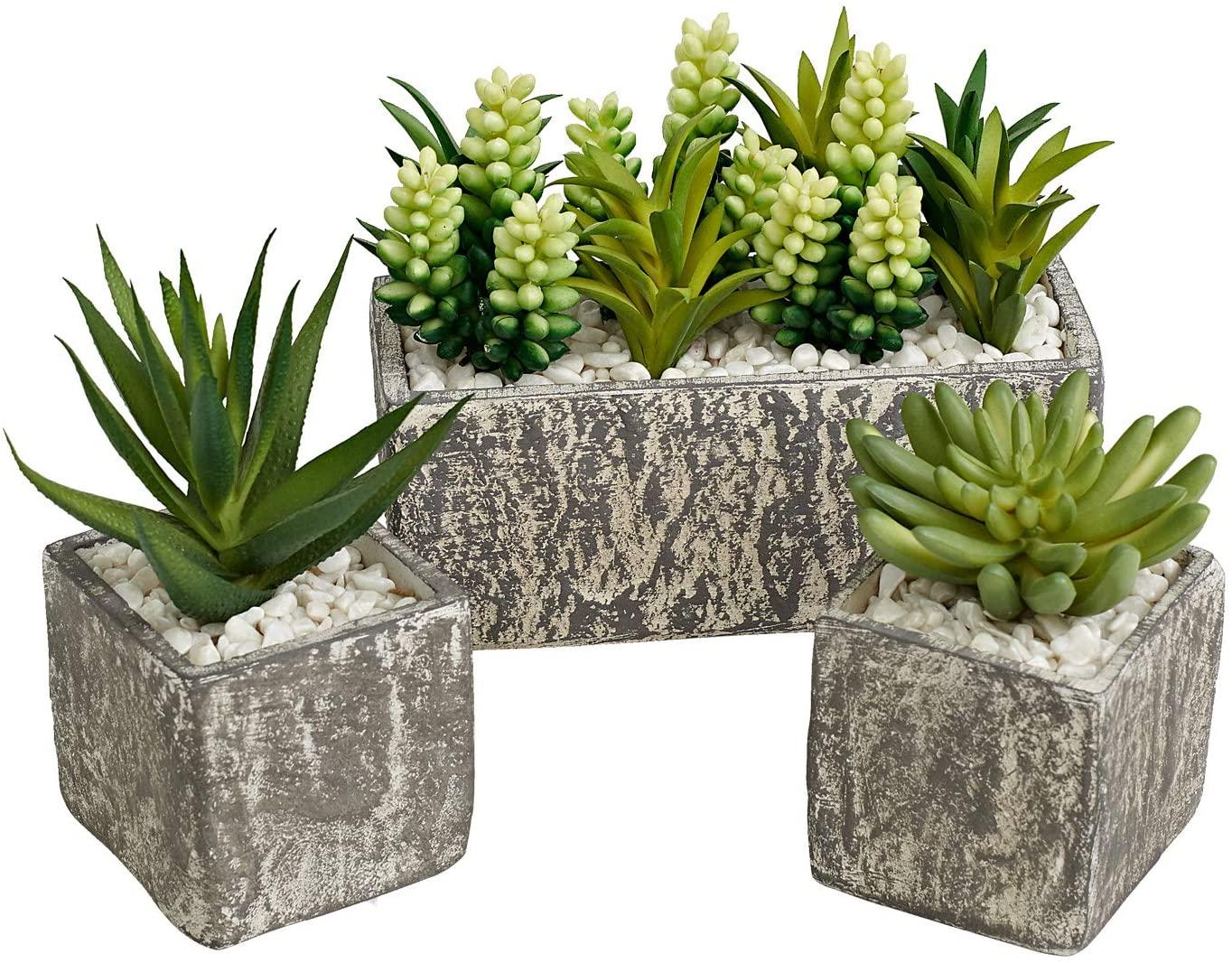 MOTINI Artificial Succulent Plants Box Fake Plant Set of 3 Faux Succulent Planter Artificial Plants Rectangular Planter in Pot Plant Decor