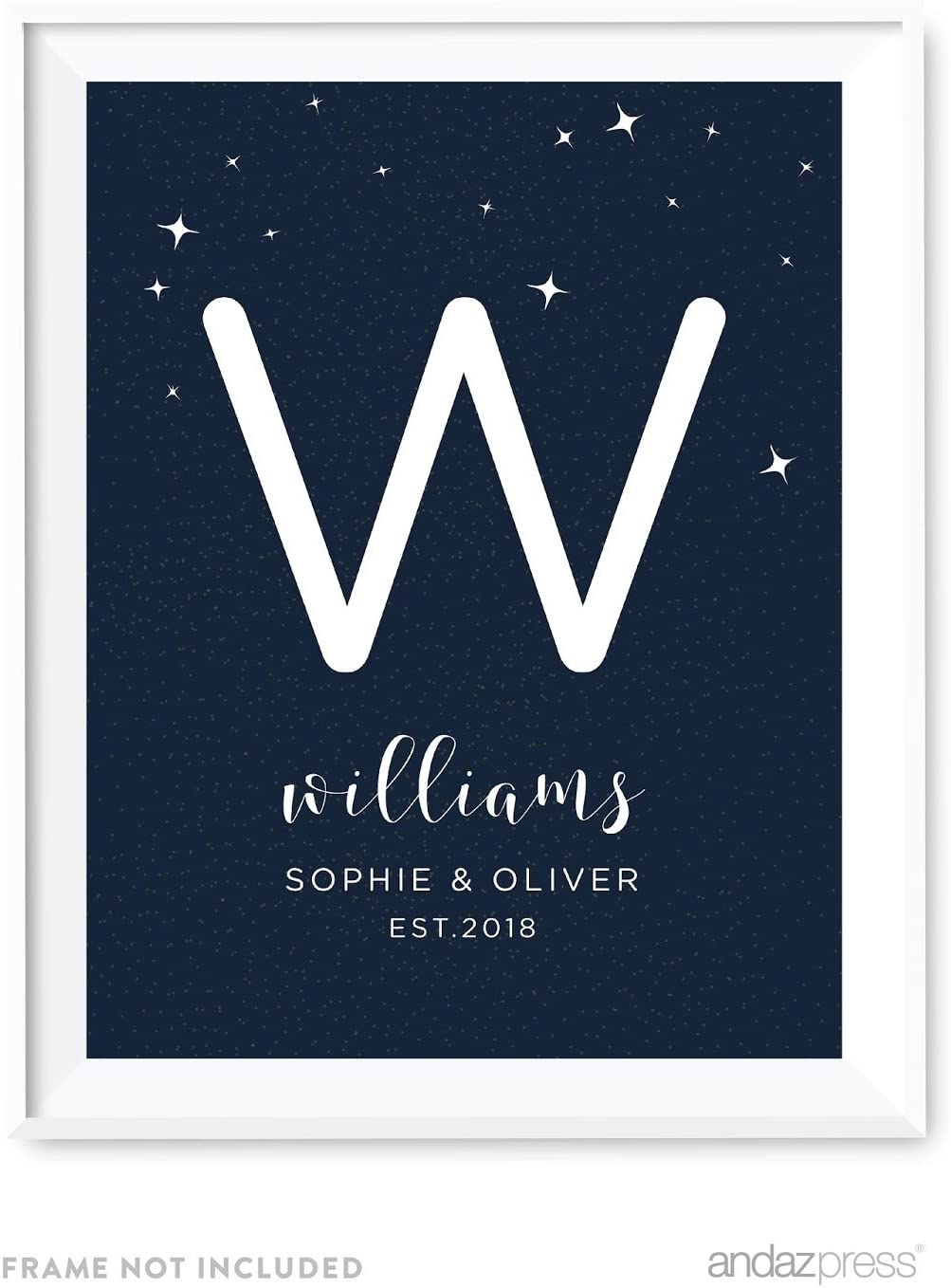 Andaz Press Love You to The Moon and Back Wedding Collection Personalized, Party Signs, Monogram Bride & Groom Names, Est. Year, 8.5x11-inch, 1-Pack, Custom Name
