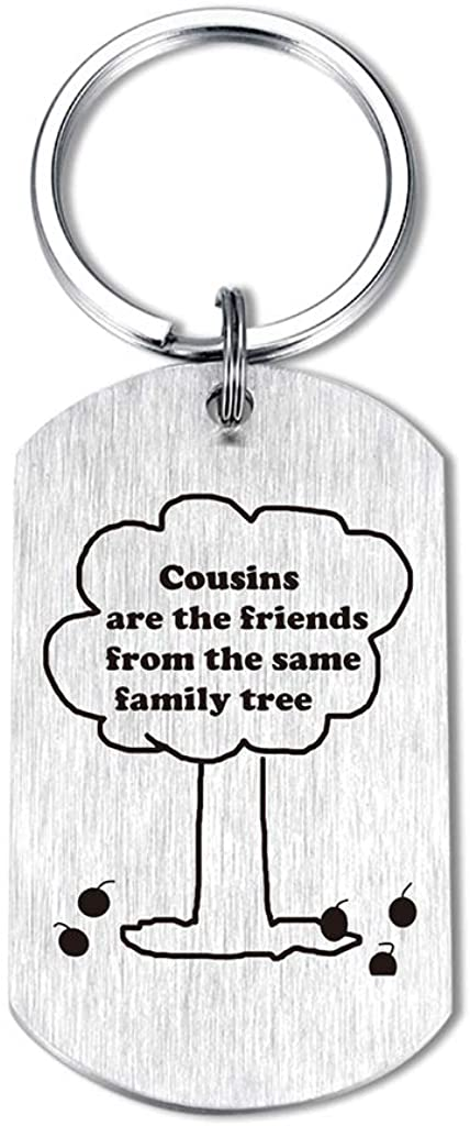 Cousin Friends Gifts Keychain - Cousins are the Friends from the Same Family Tree Jewelry Pendant key chains