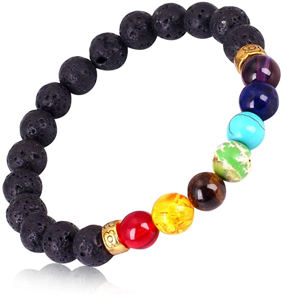 VEIMIS Men's and Women's Bead Bracelet Bead Chakra Bracelet - 7 Chakras 8mm Aromatherapy Essential Oil Diffuser Bracelet Natural Stone Yoga Beads Bracelet Bangle